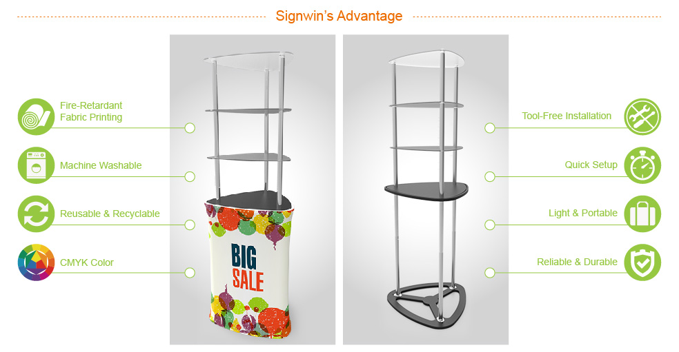 Signwin Triangular Display Tower Counter with Custom Graphic DT-S-02 Advantage