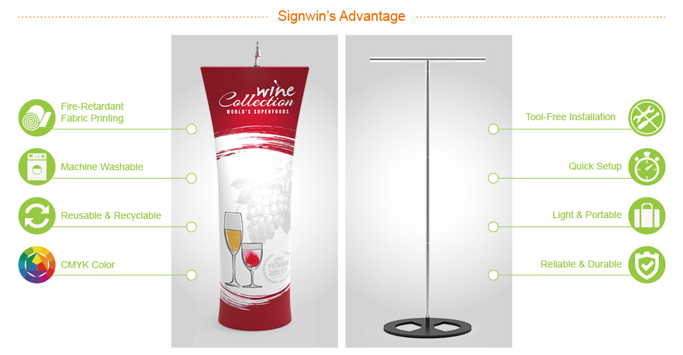 Signwin Straight Top Tension Fabric Banner Stand DT-W-03A Advantage