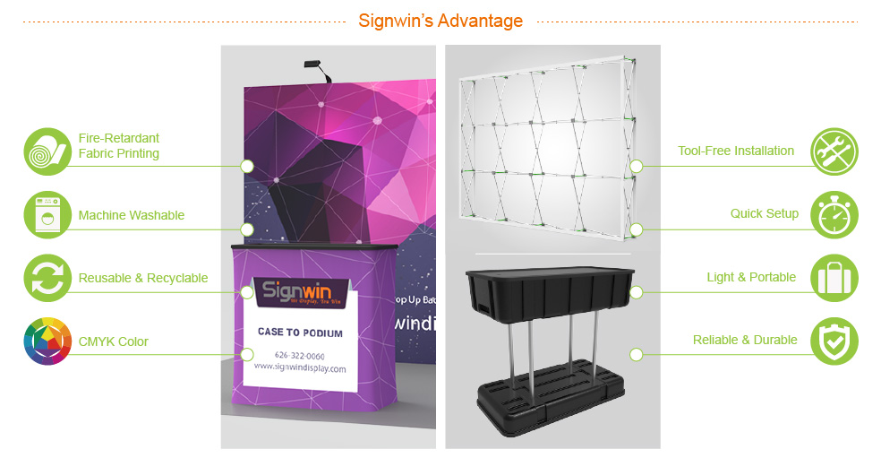 Signwin 10ft Flat & Foldable Pop Up Backwall Display with Premium Case to Podium PB-B-04 Advantage