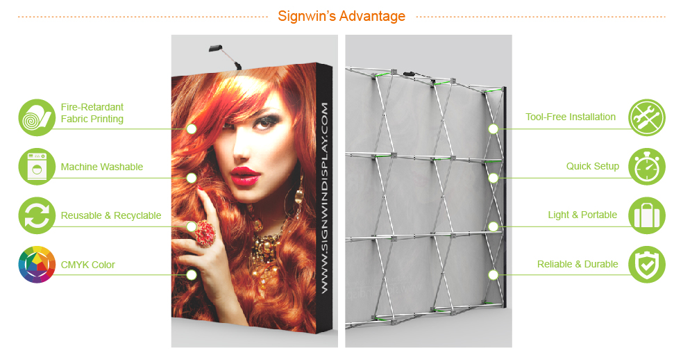 Signwin 10ft Straight & Solid Pop Up Backwall Display PB-L-02 Advantage