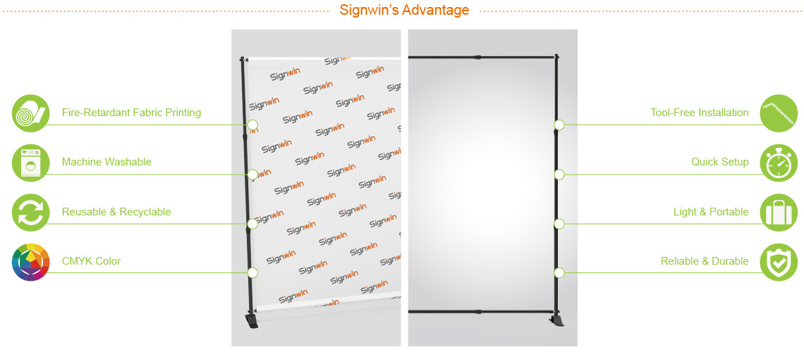 Adjustable Step & Repeat Teleconference Video Backdrop Telescopic Tension Fabric Display SR-AT-TFD Advantage