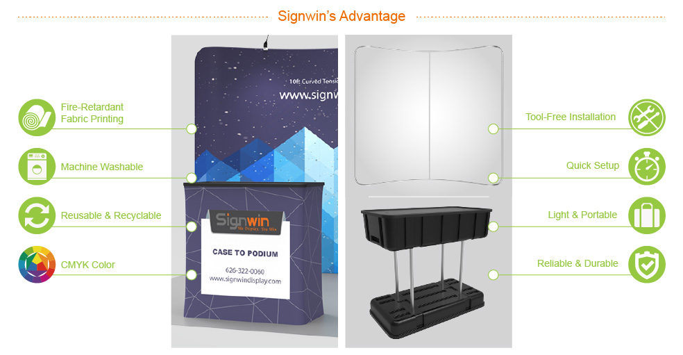 Signwin 10ft Curved & Recyclable Tension Fabric Backwall Display with Durable Case to Podium TF-B-02 Advantage